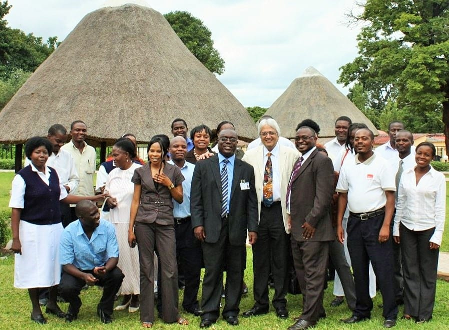 UNZA-UCLMS Project team (Centre Professor Zumla with Dr Peter Maaba and Dr Nathan Kapata)