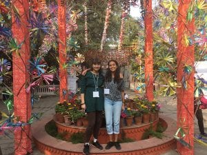 UCL students Shalaka and Tamiza at Jaipur Literature Festival