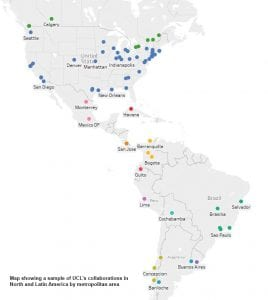 Map showing a sample of UCL collaborations in North and Latin America, by metropolitan area