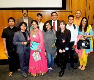 Gandhi Fellows, their families, UCL's Dr. Caroline Selai and Sreemoyee Chatterjee, a Times of India journalist