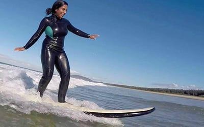 Eshitha surfing