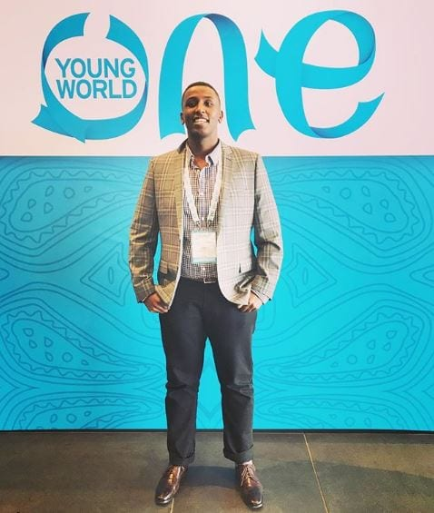 UCL student Abdul Elmi at the One Young World summit, Colombia