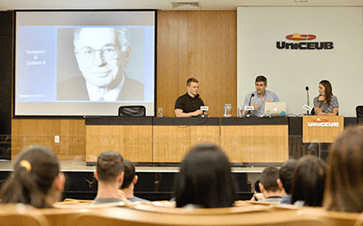 John and Jo speaking at University of Central Brazil (UniCEUB)