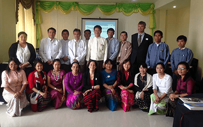 Ministry of Education officials in Nay Pyi Taw with UCL's Prof Marie Lall and Jonathan Dale after the workshop