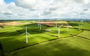 Wind turbine fields in Cornwall