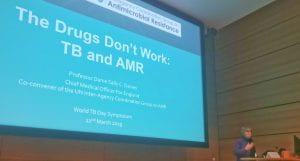 Dame Sally Davies speaking at the World TB Day symposium