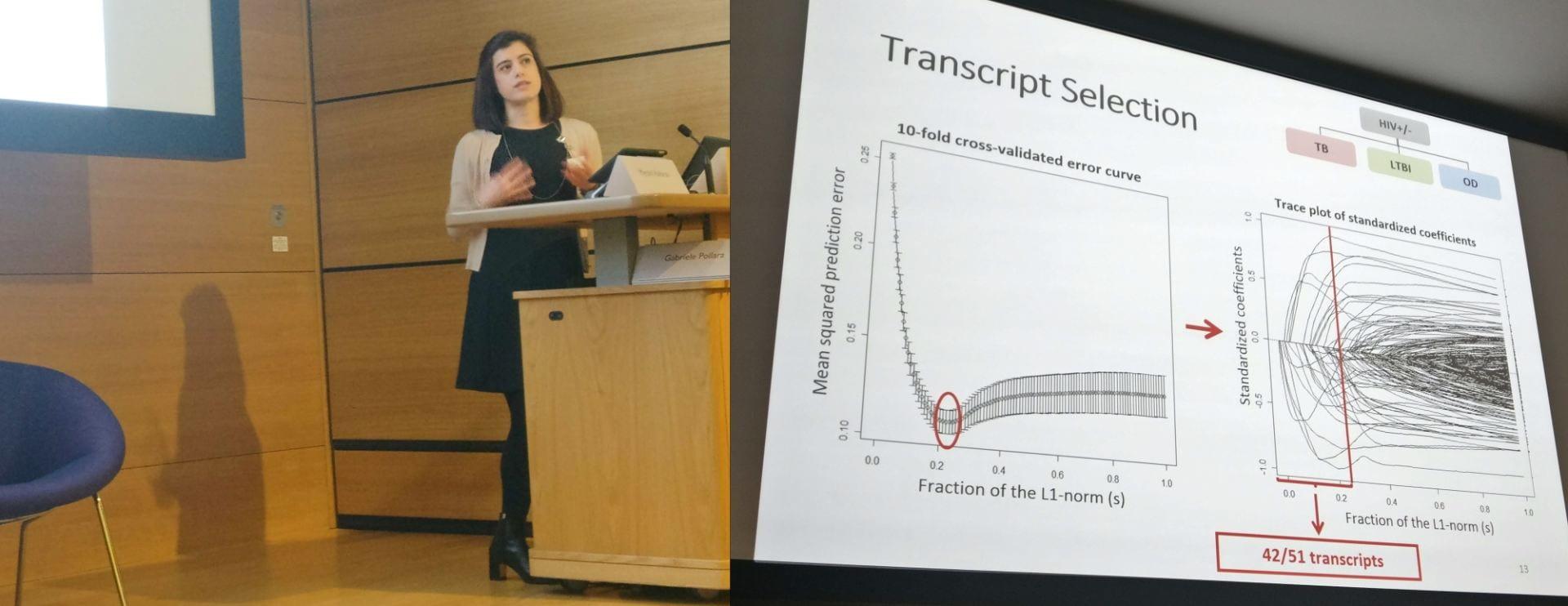 Dr Myrsini Kaforou with slide of data