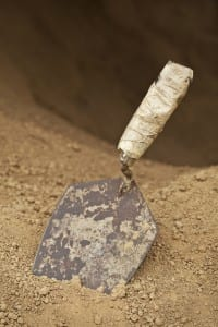 An Old Trowel at Entrance to Small Dark Cave