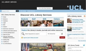 New UCL Library Services homepage