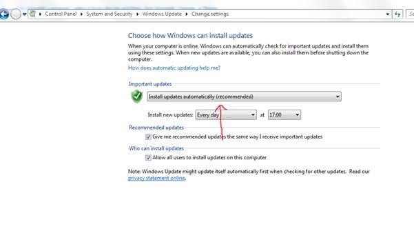 Screenshot of Windows Update automatic updates settings