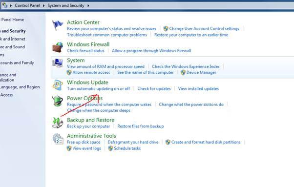Screenshot showing Windows Update options