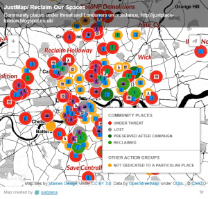 Map of London community spaces under threat
