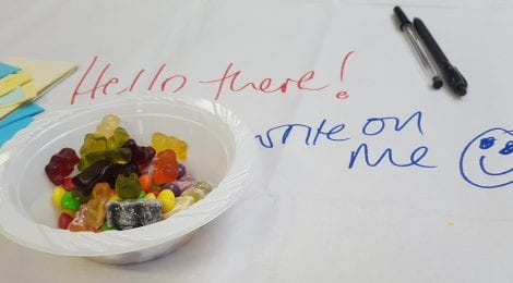 Flipchart paper with 'Please write on me!' written on it and a bowl of sweets