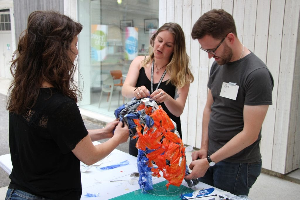 UCL researchers and east London artists create plastic scultpure as part of a workshop at Bow Arts Trust