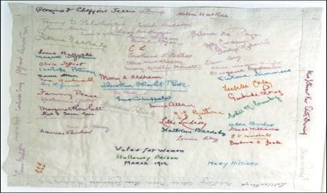 handkerchief embroidered by suffragette prisoners