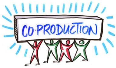 People holding a sign that says - Co-production on it (Image credit: franohara.com)