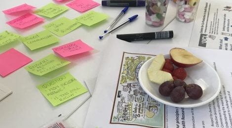 post-it notes and snacks on a table