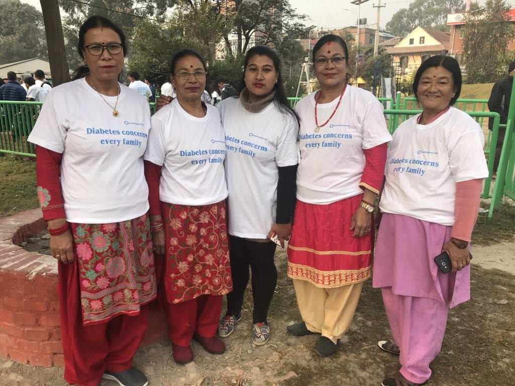 Nepalese women with 'Diabetes concerns every family' T-shirts