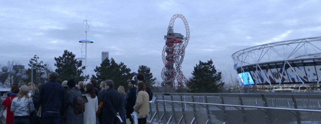 Project participants walk around Queen Elizabeth Olympic Park