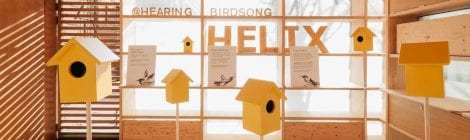 Image of the Helix Design Centre with the Hearing Birdsong yellow bird boxes displayed in the room (Image credit: James Retief @jretief11)