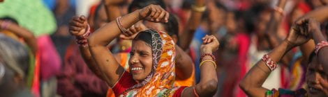 Woman dancing in a crowd at the Janakpur Mela