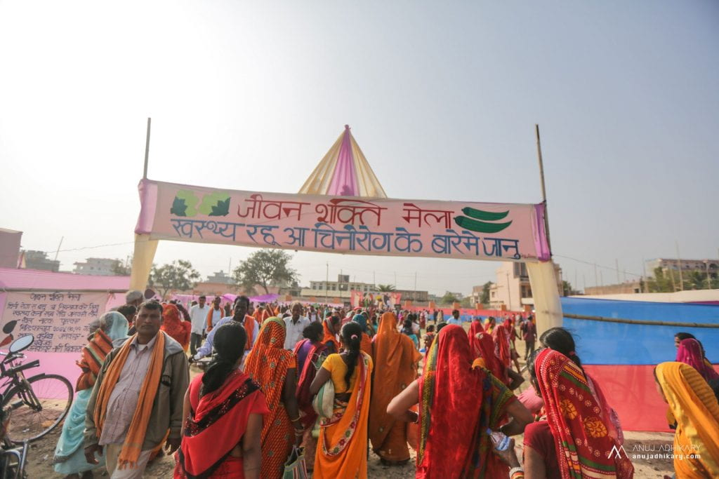 Crowds enter the Janakpur Mela.