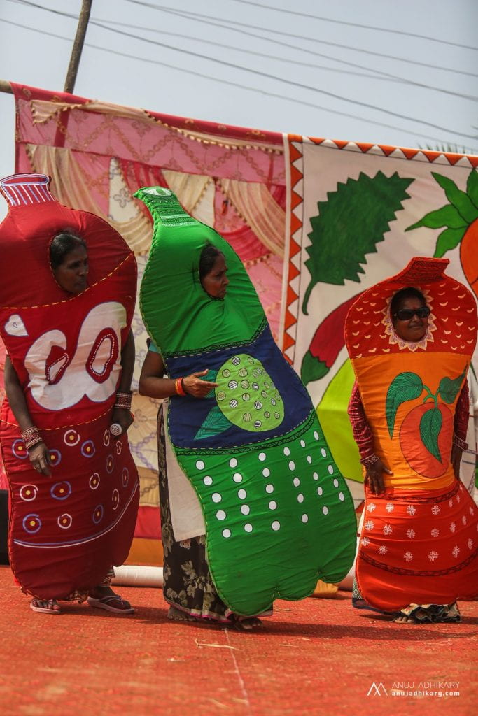 Women dressed as fizzy pop bottles, as part of a diabetes awareness fun-fair