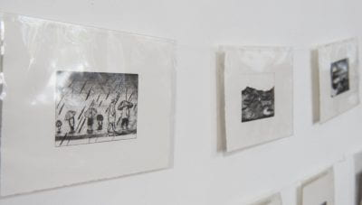 Image of a small selction of prints from Make an Impression exhibition in the North Cloisters.