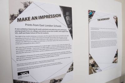 Image of interpretation panels from Make an Impression Exhibition