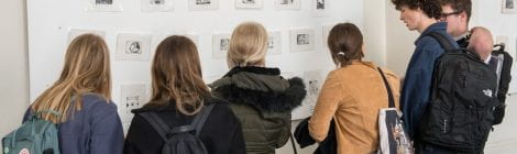 Make An Impression exhibition launch of 90 small scale black and white dry point etchings by young people from six colleges and schools across East London with support from UCL staff and Slade School of Fine Art students. UCL North Cloister, 22, Gower St, London. 30/04/2019