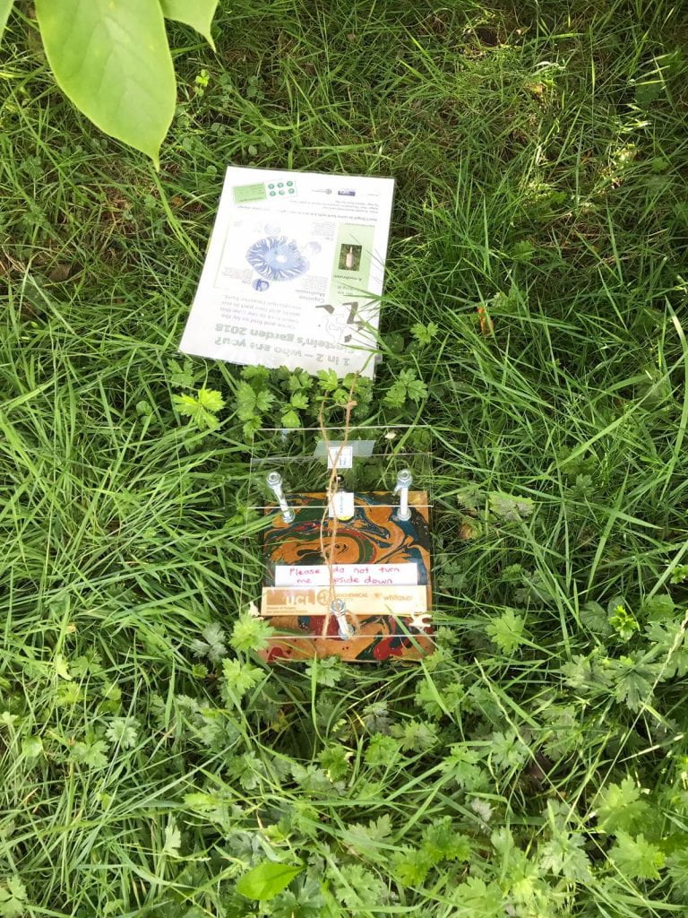 A DIY Mobile Phone to Microscope converter with instructions lying in the grass