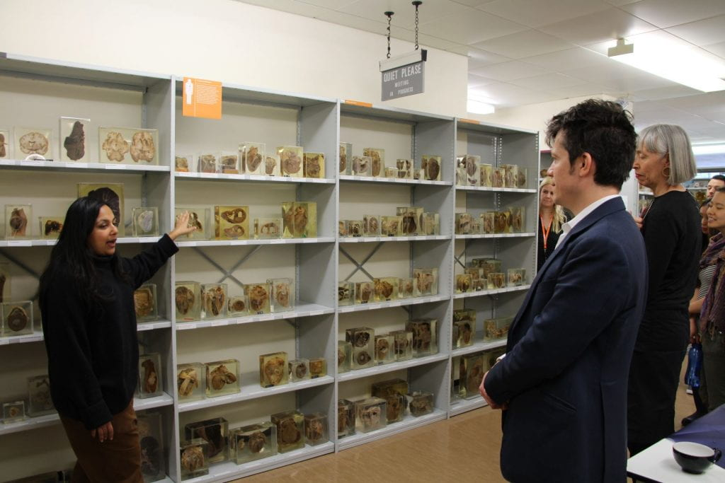 Subhadra Das points to items on the shelves in the Pathology Museum
