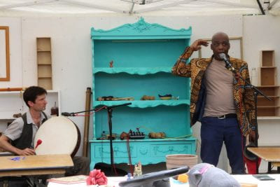 Professional Storyteller Norman Bailey and musician Zoot Lynam perform