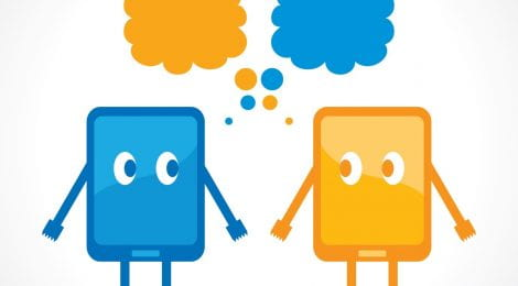 Two tablets drawn as characters with eyes and thought bubbles above them.