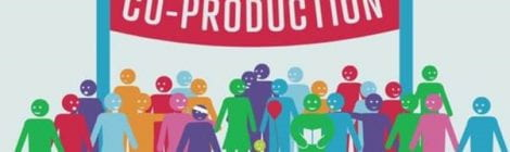 """A group of smiling stick figures under a banner that says """"Co-production"""""""