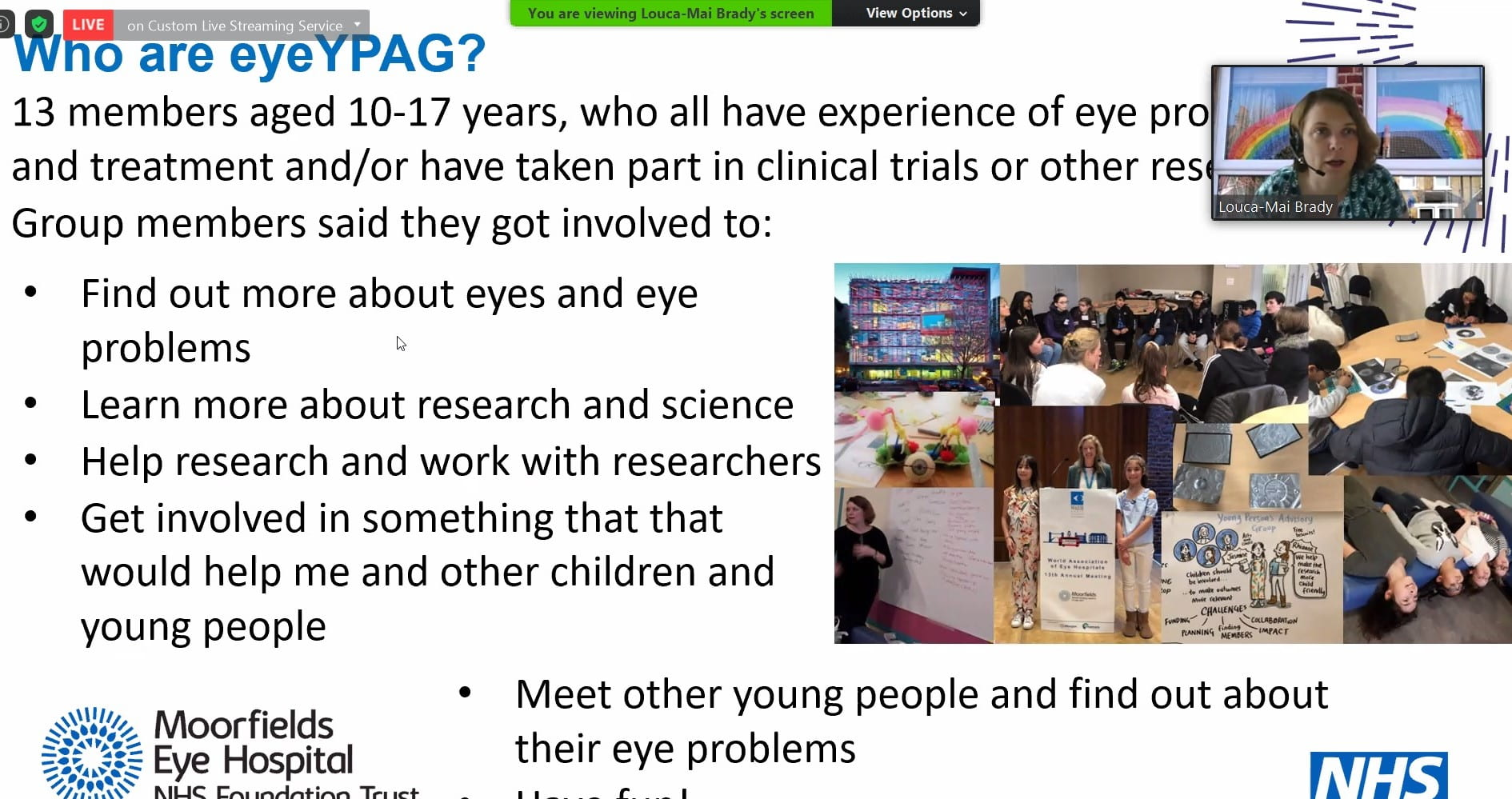 Image of a slide with reasons why eyeYPAG members get involved - to learn about science, help research, meet people