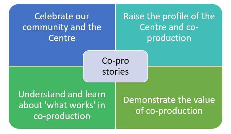 'Co-pro stories' surrounded by 4 squares explaining the why we're launching this work