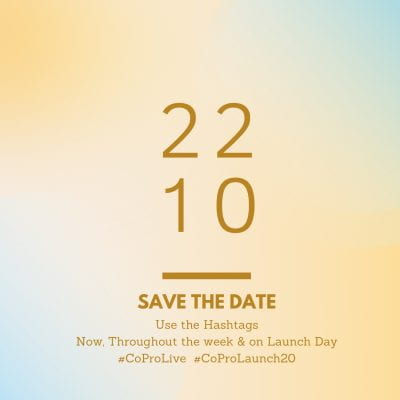 Peach and blue background with the words: 2210, save the date