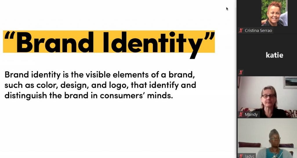 One of the slides presented during the 26th of August session, explaining the meaning of brand identity to us - brand identity is the visible elements of a brand, such as colour, design and logo, that identify and distinguish the brand in the consumers' minds