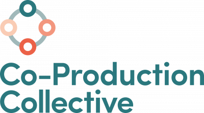 A logo with 4 colour circles and the words - Co-Production Collective