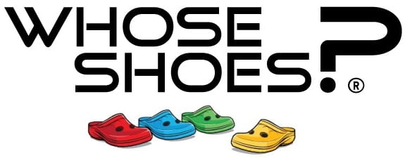 The image reads 'Whose shoes?' with various coloured Croc shoes underneath