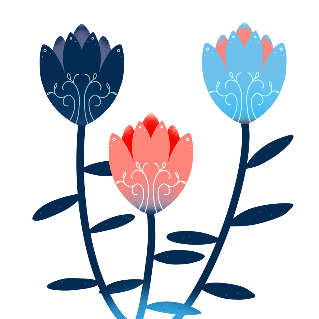 Three flowers blooming with intricate details on their petals, one navy, one light blue, and one pink.