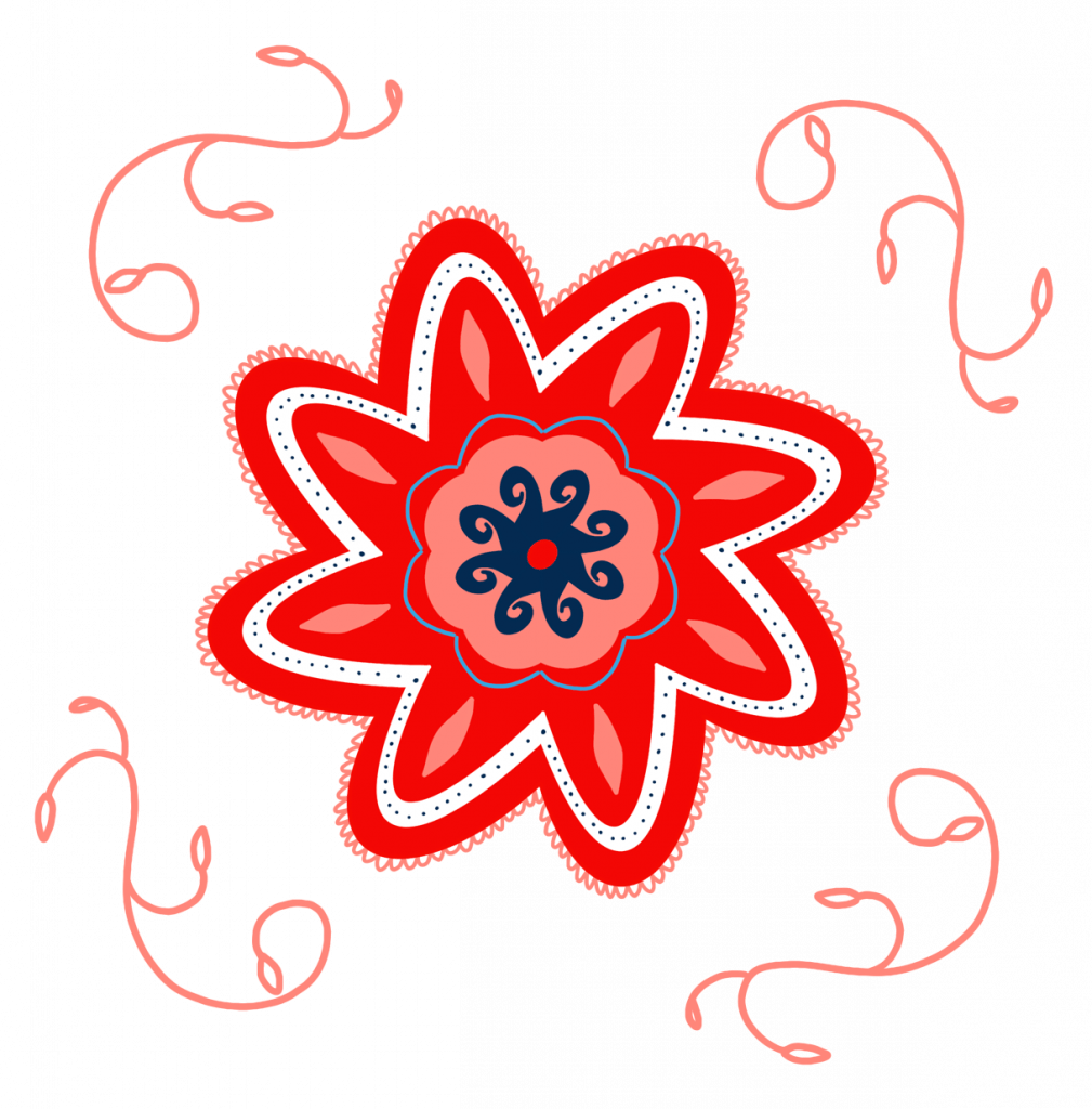 A beautifully details red flowers in full bloom, encircled by flourishes.