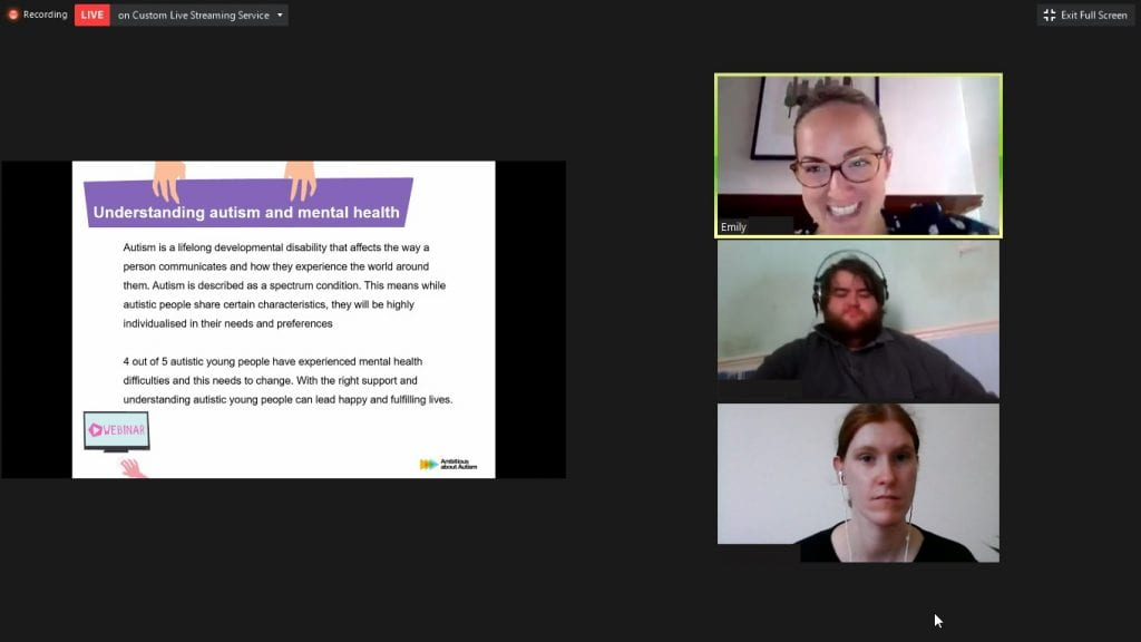 """a screenshot of a zoom webinar showing a slide titled """"Understanding autism and mental health"""", in the top left corner live transcription and recording is shown, to the right are three faces of those delivering the training"""