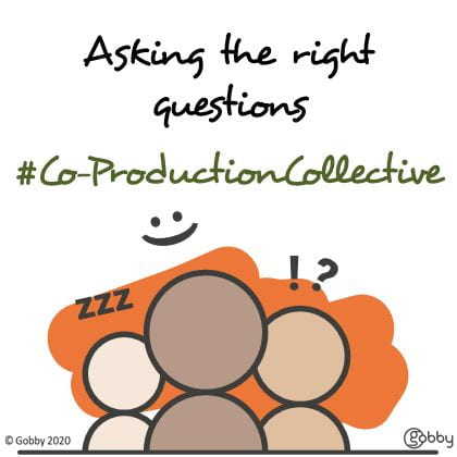 Against a white background, three illustrated figures discuss questions. Above them the hashtag #Co-ProductionCollective and the tagline Asking the right questions