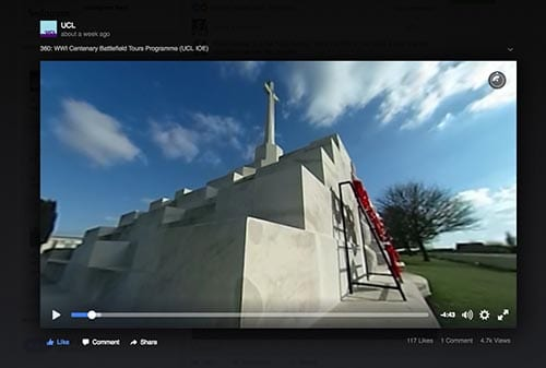 Tyne Cot cemetery, France - still from 360 degree WW1 centenary film