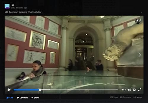 Still of UCL's 360 campus highlights film