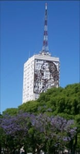 img: Eva Perón amid jacaranda trees