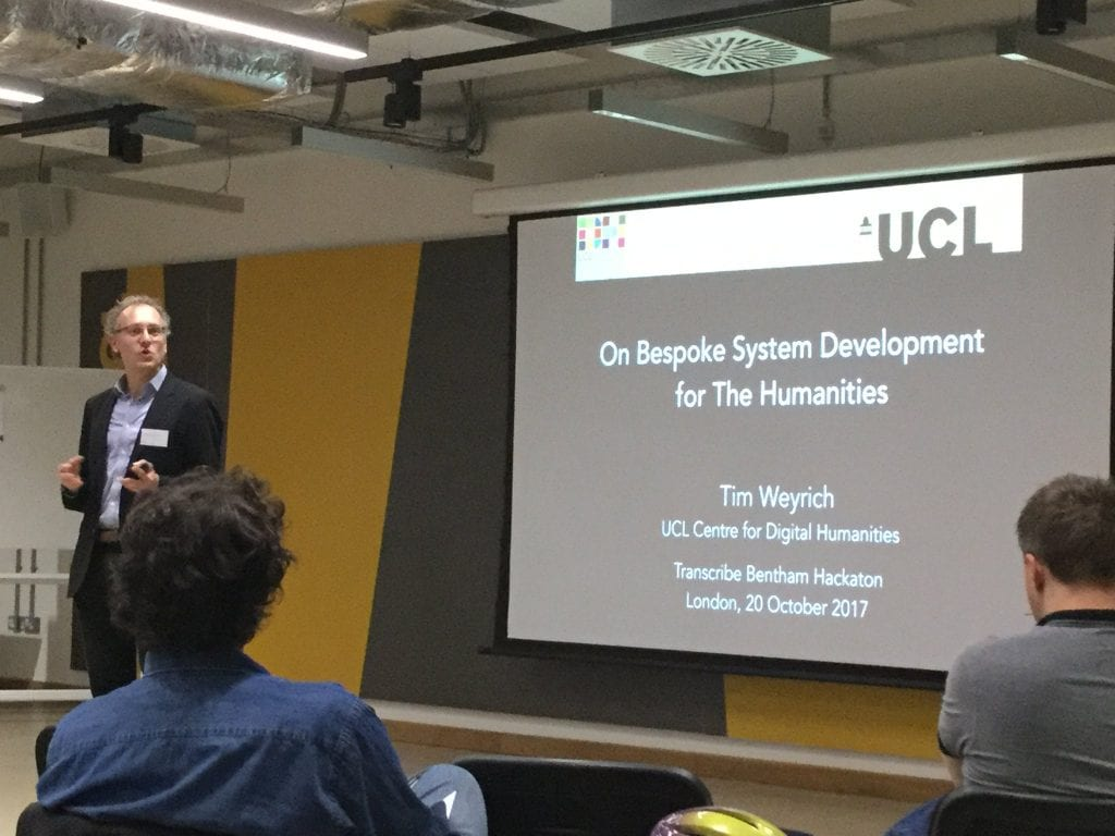Prof Tim Weyrich speaking at the opening of the Bentham Hackathon