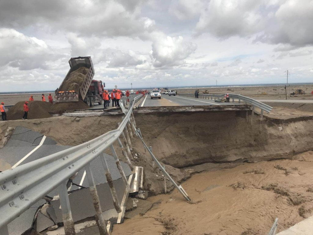 Washed out bridge on the Dunhuang road